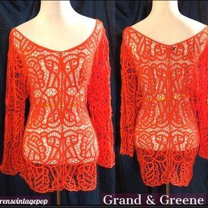 Valentine Fire Red-Orange Crochet Fishnetty Top